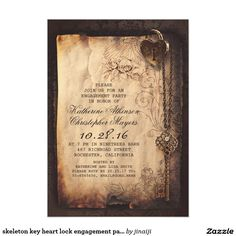 skeleton key heart lock engagement party invite