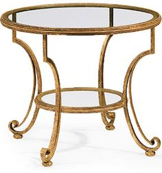 Round hand-wrought iron two-tier table. Wrought iron table finished in distressed antique gold-leaf and has glass top. This hand-wrought iron table is hand-crafted in Italy Iron Coffee Table, Glass Top Coffee Table, Iron Table, Modern Coffee Tables, Glass Table, X 23, Iron Furniture, Furniture Stores, Luxury Furniture