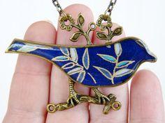 Stunning Navy & Aqua blue leaf print Bird on a Branch Resin Necklace