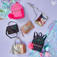 So many styles to compliment her look. Cute School Bags, Cute School Supplies, Girls Fashion Clothes, Tween Fashion, Justice Accessories, Bag Accessories, Photos Folles, Tween Girls, Toys For Girls