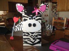 Valentines day box - baton twirling zebra!! Very cute idea.