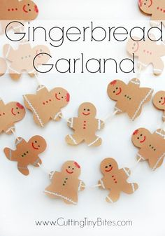 Gingerbread Garland- Christmas craft for kids. Sweet and simple gingerbread boys and girls for holiday decoration. Great fine motor development for preschool, kindergarten, or elementary.