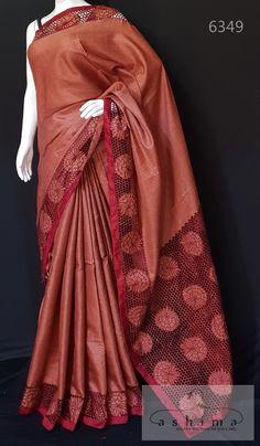 Cutwork Saree, Tussar Silk Saree, Work Sarees, Cut Work, Blouse Designs, Sari, Elegant, Collection, Fashion