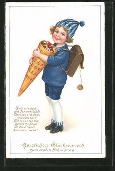 """carte postale ancienne: CPA """"Herzlichen Glückwunsch zum ersten Schulgang"""", Junge avec Ranzen et Zuckertüte voller Süssigkeiten"""