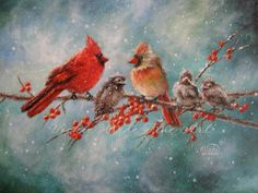 Cardinal Family Print cardinal paintings red by VickieWadeFineArt - -the cardinal is such a reminder of Christmas for me.. I think this is beautiful!! I'd love to get this OR give this as a present.. #indigo #magicalholiday