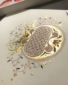 for 'Determination'- For a couple of days I couldn't figure out how to finish the design for this illuminated letter- but after taking Medieval Manuscript, Medieval Art, Renaissance Art, Illuminated Letters, Illuminated Manuscript, Illumination Art, Fancy Letters, Turkish Art, Creative Lettering