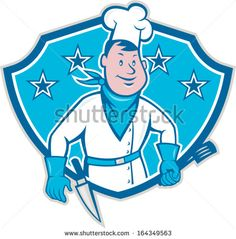 Illustration of a chef cook with spatula and kitchen knife on hip wearing bandana on neck and facing front set inside shield with stars done in cartoon style. - stock vector #chef #cartoon #illustration