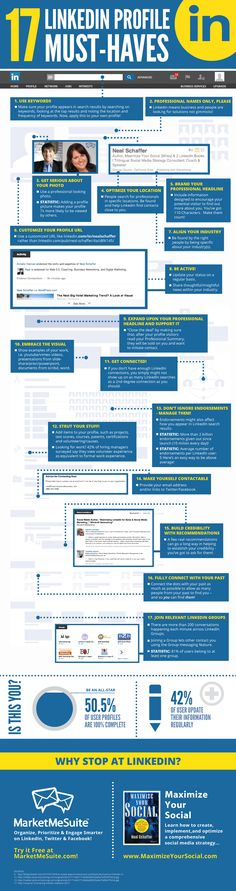Professional LinkedIn Profile Tips: A Checklist of 17 Must-Have Items. #linkedin #infographic See it here: http://maximizesocialbusiness.com/professional-linkedin-profile-tips-checklist-9648/