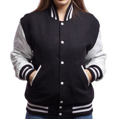 Black and white blank varsity letterman jacket for women by Varsity Base Varsity Letterman Jackets, Great Gifts For Women, Woman Smile, Black Wool, White Leather, Men Fashion, Catalog, Jackets For Women, Base