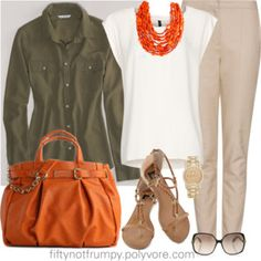 Shirt as a Jacket; olive jacket with ivory top and orange necklace, black pants for me though.