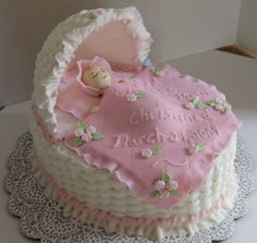 Baby cradle cake. Would be great for baby shower or Christening.