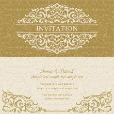Baroque invitation, gold and beige vector art illustration