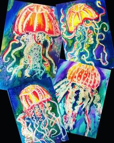 The inspiration for these beautiful jelly fish came from Natalie Waggenspa… Done! The inspiration for these beautiful jelly fish came from Natalie Waggenspack on her great blo Art Lessons For Kids, Art Lessons Elementary, Art For Kids, Kindergarten Art Lessons, Elementary Schools, 2nd Grade Art, 2nd Grade Crafts, Animal Art Projects, Atelier D Art