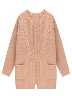 Pink Loose Knit Cardigan With Long Sleeve | abaday