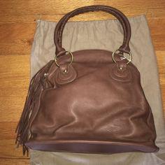 Bulga Tote Bag Bulga Leather Tote Bag. 3 compartment zip bag with tassels. Measures 14.5 X 9 X 13.5. Bulga Bags Totes