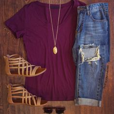Jenna basic top - burgundy in 2019 casual spring outfits out Spring Summer Fashion, Autumn Fashion, Spring 2016, Look Fashion, Womens Fashion, Teen Fashion, Fashion 2015, Fashion Ideas, Fashion Killa