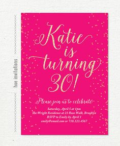 Gold 30th Birthday Invitation A6 Digital File Printable PDF