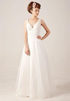 Beading V-neck Lace-up Wedding Dress with Sweep / Brush Train