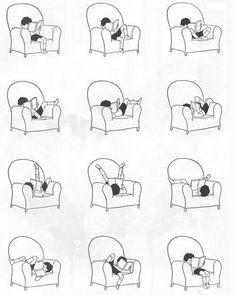 the many reading poses.