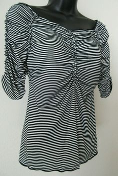Ladies Women's Blouse Top Black & White Striped 3/4 Sleeve Size Small Max Studio #MaxStudio #Blouse