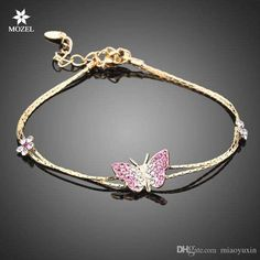 2017 Wholesale Mozel Fashion Jewelry Swarovski Elements Gold Plated Stellux Austrian Crystal Butterfly And Flower Charm Bracelet Ts0008 From Miaoyuxin, $6.62   Dhgate.Com