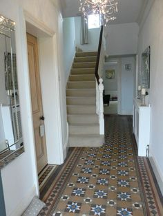 My Hallway - minton tiled flooring victorian Hall Tiles, Tiled Hallway, Grey Hallway, Victorian Terrace Hallway, Minton Tiles, Hall Wallpaper, Victorian Tiles, Victorian House, Hall Flooring
