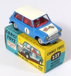 Corgi Toys 227 Morris Mini Ralleye racing car Pic. www.qualitydiecasttotoys.com