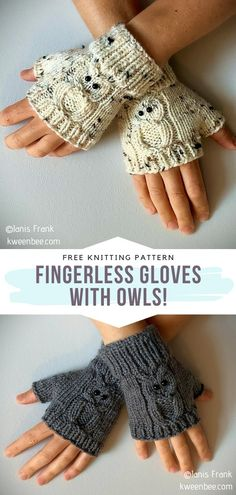 Owl Knitting Pattern, Mittens Pattern, Loom Knitting, Knitting Patterns Free, Free Knitting, Fingerless Gloves Knitted, Crochet Gloves, Knit Mittens, Knit Crochet