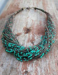 Колбе из льняной нити и чешского бисера. #колье из льняной нити, #украшенияизльняной нити, #украшения из льняной нити, #linen netural necklace, #eco-jewellary, #hand-made necklace