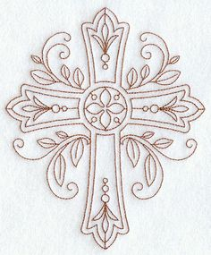 "Ornate Cross (Redwork) ~ So I realize this is a different type all together of ""Needle""work...but would be a gorgeous tatttoo! =)"
