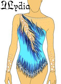 Competition Rhythmic gymnastic leotard design Kaat blue