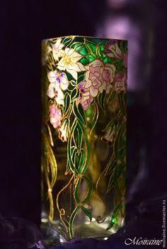 """Купить Ваза для цветов """"Винтажная"""". Витражная роспись - зеленый, ваза для цветов, ваза для сухоцветов"""
