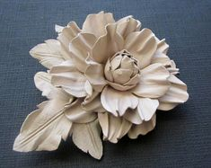 Handmade leather flower brooch in white off, Leather flower pin, Handmade leather flower, Bridal flower, Mothers day gift, Mother of  bride