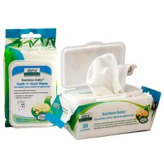 """Aleva Naturals® Bamboo Baby® Tooth 'n' Gum Wipes are ideal for introducing your baby to good oral hygiene habits. Many parents search for effective ways to clean their baby's mouths after they drink milk, formula or juice. The Bamboo Baby® Tooth n' Gum Wipes are """"dotted"""" to add texture so parents can easily wrap the wipe around their fingers and clean baby's gums and little teeth. The main ingredient is Xylitol, a berry extract, which has a slight sweet taste and promotes healthy teeth and…"""