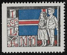 + 1915 Iceland Island Christmas Seal Label Boy Girl Flag of Country Rarity MH #6