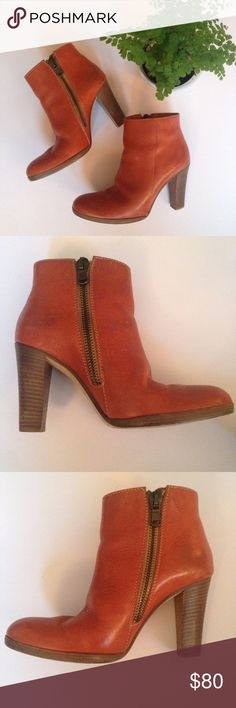 """HP🎉 Madewell booties ⭐️Sale. Were $80⭐️ These beautiful cognac leather booties feature side zip closure and 3.75"""" stacked wood heels. I love these boots, but due to a foot problem I can't wear heels this high anymore. Made in Italy. True to size. Pre-loved, but still in great shape. Madewell Shoes Ankle Boots & Booties"""