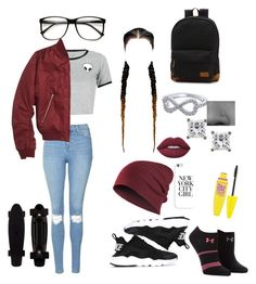 """Untitled #101"" by volleyballstar43 ❤ liked on Polyvore featuring WithChic, Topshop, NIKE, Under Armour, ZeroUV, Montebello Jewelry, Maybelline, Casetify, Lime Crime and Vans"