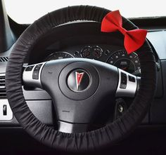 Black Steering Wheel Cover with Bow by FireflyCreations42 on Etsy, $20.00 car accessories black and red bow