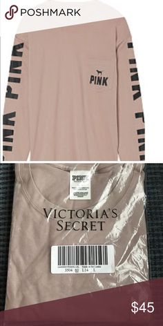 🆕Victoria's Secret PINK L/S Crew Tee 🆕Price FIRM unless bundled,Shipped in online original packaging,,Color:Lavender Rain Long sleeve crew oversized tee PINK Victoria's Secret Tops Tees - Long Sleeve