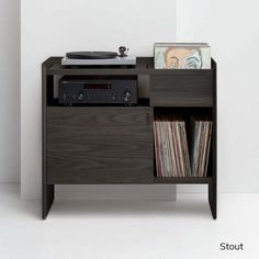 An all-in-one solution, the Unison Record Stand combines audio gear and record storage into a beautifully designed single piece of solid wood furniture. Vinyl Record Storage Shelf, Record Player Cabinet, Record Player Stand, Stereo Cabinet, Turntable Setup, Turner House, Record Table, Walnut Cabinets, Audio