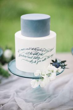 Dusty blue is a timeless shade that is elegant and is the perfect 'something blue' for your day. Take a look at how you can create a dusty blue wedding! Wedding Desserts, Wedding Cakes, Wedding Vows, Wedding Quotes, Bbq Dessert, March Wedding Colors, Naked Cakes, Dusty Blue Weddings, Wedding Calligraphy
