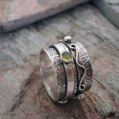 Spinner Ring with Gem Stones Twiddle Stoned by KBerlinMetalsmith, $176.00