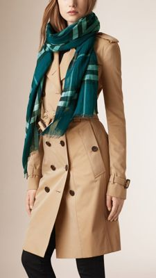 Burberry Mineral Green Lightweight Check Wool and Silk Scarf - An Italian-made check wool and silk scarf in a lightweight gauze weave. Discover the scarves collection at Burberry.com