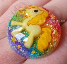 Yellow Pony Rainbow Resin Bubble Ring Kawaii by GlitterFusion