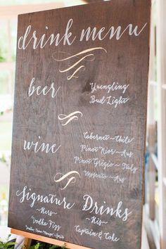 Featured photographer: Katelyn James, Jillian Michelle Photography, Hannah Teague Photography; Wedding reception drink menu idea