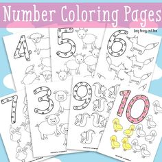 Animals Number Coloring Pages - Easy Peasy and Fun