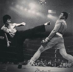Two of the greatest fighters of all time Bruce Lee and Muhammad Ali,rest in peace brothers, Wether in spirit or human form legends never die. (Graham Hague).