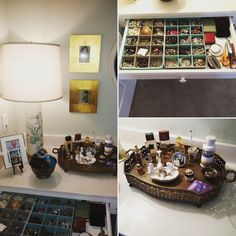 Thrift store finds, lamp, brass tray to arrange my perfumes, silver bowl for my bangle bracelets, organized my jewelry in storage trays.  #coastallifestyledesign #CLDtipoftheday
