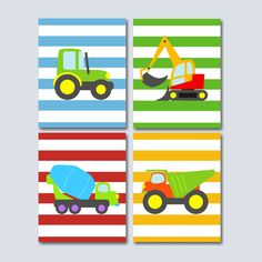 Construction Wall Art Trucks Kids Wall Art by SweetBloomsDecor