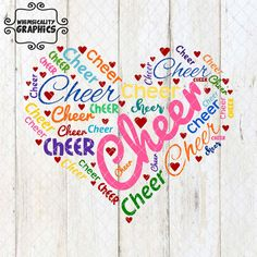 Digital File - Cheer Heart for Cheerleaders, Cheerleader Moms, Grandmother, Sister with svg, dxf, png and eps Commercial & Personal Use